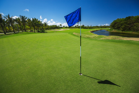 green: Golf course. Beautiful landscape of a golf court with palm trees in Punta Cana, Dominican Republic