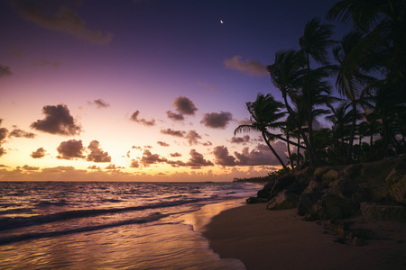 cana: Caribbean wild beach, Punta Cana, sunrise shot Stock Photo