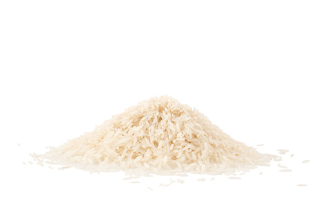 Small pile of basmati rice isolated on a white background