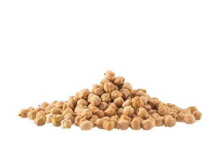 garbanzo bean: Pile of organic chickpeas isolated on white