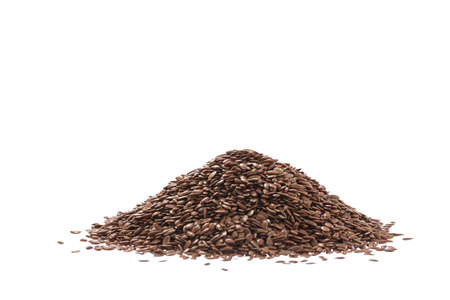 flax seed: Pile of brown flax seed or linseed isolated on white background