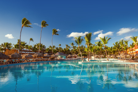 Swimming pools in tropical resort , Punta Cana, Dominican Republic