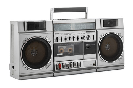 Retro ghetto blaster isolated on white with clipping path Zdjęcie Seryjne