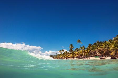 water waves: Caribbean wild beach, Punta Cana Stock Photo