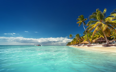 beach panorama: Landscape of paradise tropical island beach with perfect sunny sky Stock Photo
