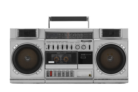 Retro ghetto blaster isolated on white with clipping path 스톡 콘텐츠
