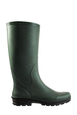 Groene rubberen laarzen geïsoleerd op wit Stockfoto - 47193657