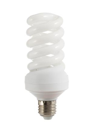 Energy saving fluorescent light bulb isolated on white background Standard-Bild - 113576345