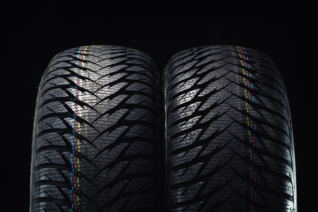 winter tires: Winter tires isolated on black background