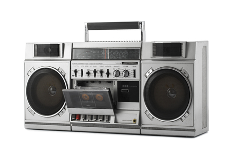 speaker box: Retro ghetto blaster isolated on white with clipping path Stock Photo