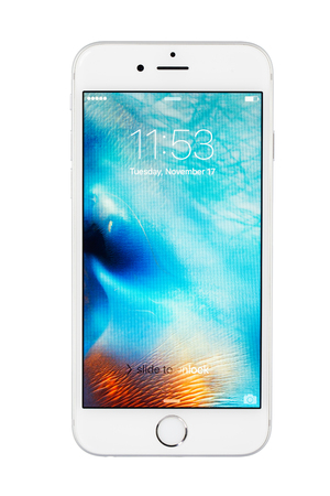 mp: Varna, Bulgaria - November 17, 2015: Cell phone model Iphone 6s has LED-backlit IPS LCD, 12 MP camera, and iOS 9. Announced 2015, September Editorial