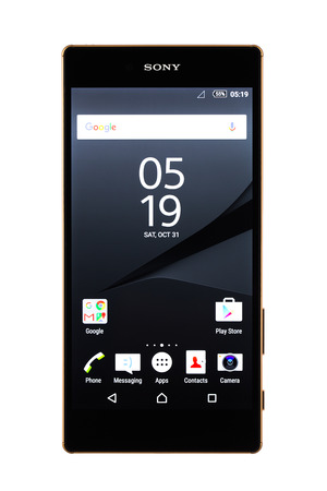 android tablet: Varna, Bulgaria - November 25, 2015: Cell phone model Sony Xperia Z5 Premium has IPS LCD capacitive touchscreen, 23 MP camera, and 2160 x 3840 px Resolution. Announced 2015, September Editorial