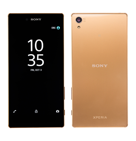 mp: Varna, Bulgaria - November 25, 2015: Cell phone model Sony Xperia Z5 Premium has IPS LCD capacitive touchscreen, 23 MP camera, and 2160 x 3840 px Resolution. Announced 2015, September Editorial