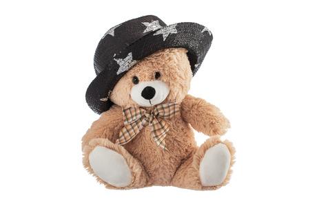oso de peluche: Esponjoso oso de peluche con el sombrero del partido aislado en un fondo blanco