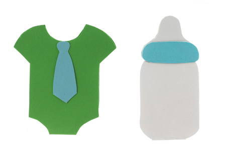 babys dummies: Cartoon milk bottle and boy t-shirt greeting cards for newborn party