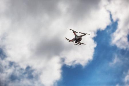phantom: Varna, Bulgaria - July 05 ,2015: Flying drone quadcopter Dji Phantom 2 with digital camera GoPro HERO4 Editorial