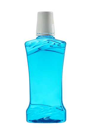 mouthwash: Plastic bottle of mouthwash isolated on white background