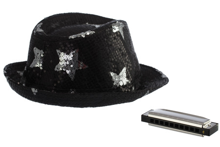 new classic: New classic harmonica and hat isolated on a white background