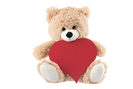 bear s: Teddy Bear Holding a Heart isolated on white background. Valentine's day concept Stock Photo