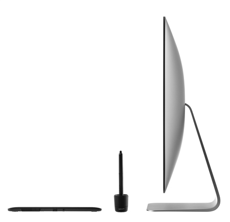 Varna, Bulgaria - January 10, 2016 Wacom Intuos pro graphic tablet with pen and holder. Intuos is a product of Wacom a Japanese company specialized in graphics tablets and related products Stock Photo