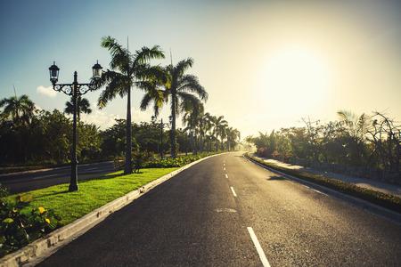 pathway: Beautiful tropical garden and pathway toward luxury resort in Punta Cana, Dominican Republic Stock Photo