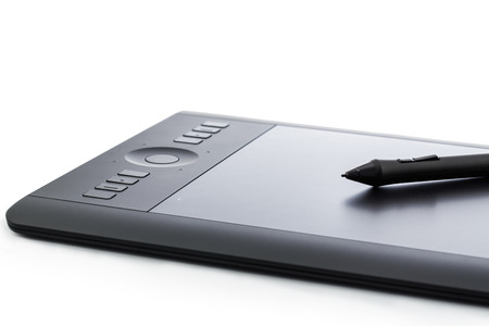 wacom: Varna, Bulgaria - January 10, 2016 Wacom Intuos pro graphic tablet with pen and holder. Intuos is a product of Wacom a Japanese company specialized in graphics tablets and related products Editorial