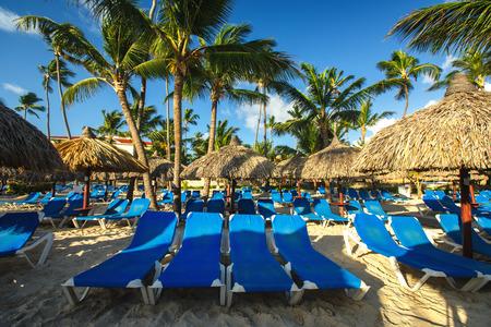 carribean: Carribean vacation, beautiful sunrise over tropical beach in Punta Cana