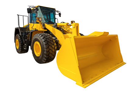 industrial machinery: Modern Loader excavator construction machinery equipment with clipping path isolated on white background