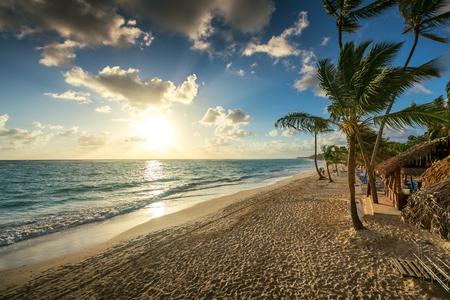 panoramic beach: Carribean vacation, beautiful sunrise over tropical beach in Punta Cana