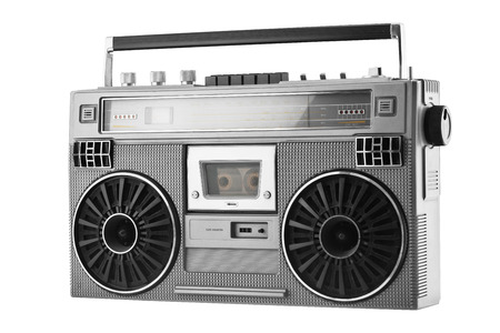 Silver retro ghetto blaster or audio boombox isolated on a white background