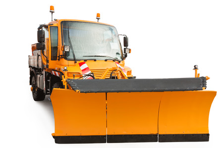 heavy snow: Snow plow removal vehicle isolated on white background