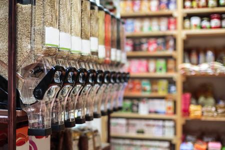 Healthy organic food and bio store interior
