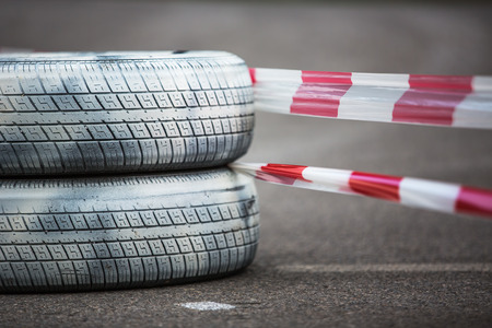 Motor tires on the road, rally championship