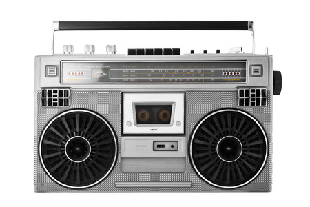 Silver retro ghetto blaster or audio boombox isolated