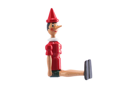 Pinocchio Toy Statue isolated on white background