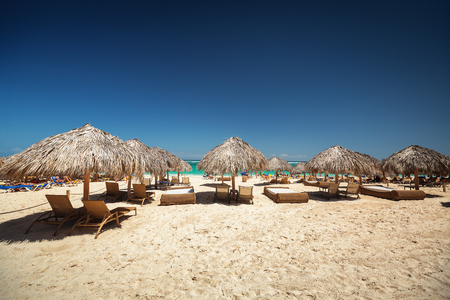 carribean: Carribean vacation, beautiful sunny day and tropical beach in Punta Cana