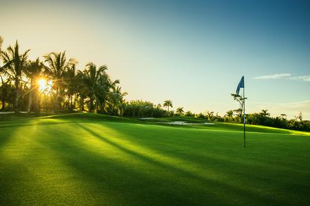 landscape: 高爾夫球場在農村 版權商用圖片