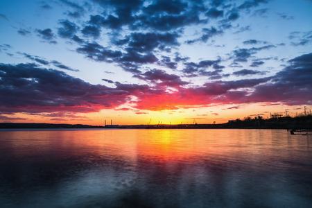 sunset lake: Beautiful cloudscape over the lake, sunset shot