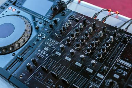 Sound music mixer closeup,  entertainment concept