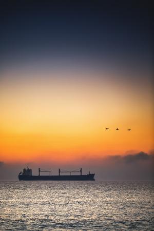 dramatic sunrise: Beautiful sunrise over the sea and little ducks Stock Photo