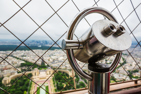 observation: Observation Telescope of the Eiffel tower. Paris, France Stock Photo