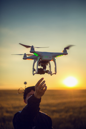 Flying drone quadcopter