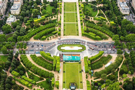 center city: Panoramic view of Paris, France, tuileries garden Stock Photo