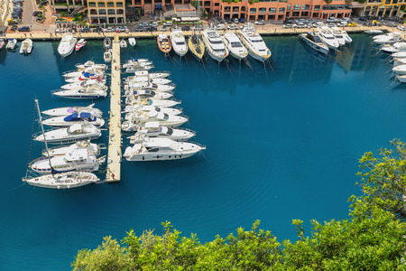 arial: Arial view of Monte Carlo harbour in Monaco. Azur coast. Stock Photo