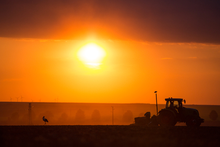 plough machine: Farmer in tractor preparing land with seedbed cultivator, sunset shot