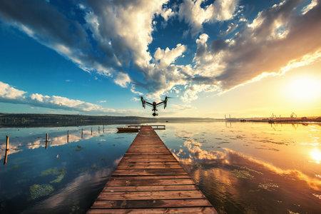 inspiracion: Varna, Bulgaria - 13 may, 2016: Imagen de DJI Inspire Pro 1 avión no tripulado UAV quadcopter que dispara video y 16MP 4k imágenes fijas y es controlado por control remoto inalámbrico con un alcance de 2 kilometros Editorial