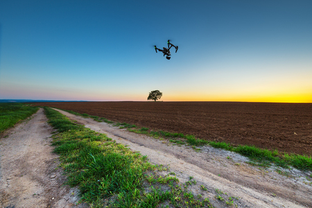 Varna, Bulgaria - April 21 ,2016: Image of DJI Inspire 1 Pro drone UAV quadcopter which shoots 4k video and 16mp still images  and is controlled by wireless remote with a range of 2km Stock Photo