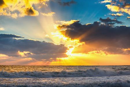 ocean and sea: Beautiful cloudscape over the sea, sunrise shot Stock Photo