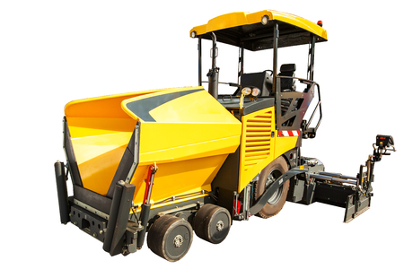 construction vibroroller: Construction machinery � Wheeled Paver isolated on white background