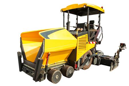 vibration machine: Construction machinery � Wheeled Paver isolated on white background